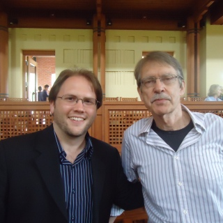 Jesse Jones and John Harbison after a performance of Jesse's Snippet Variations